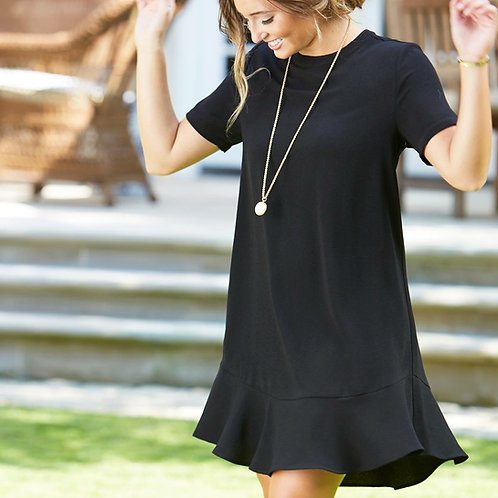 Farrah Flounce Dress- Black
