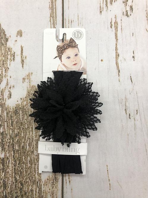 Black Fishnet Flower Headband