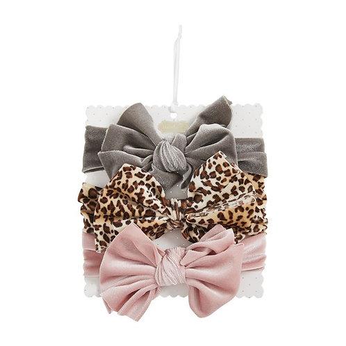 Brown Leopard Velvet Bow Set