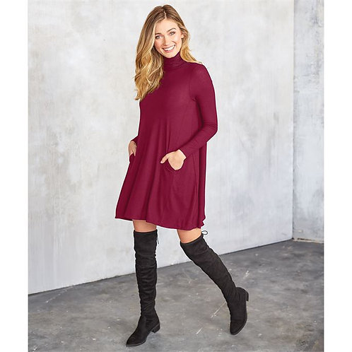 Topher Turtleneck Dress- Pinot