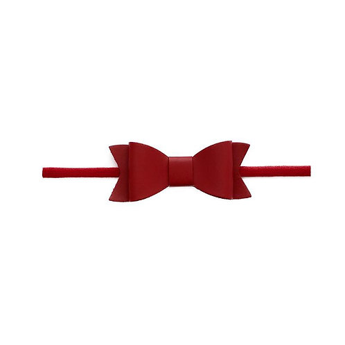Cherry Leather Bow Tie Skinny