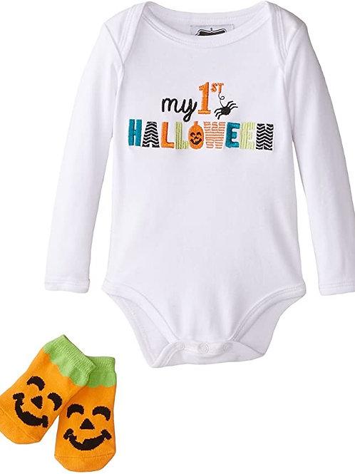 1st Halloween Crawler & Sock 0/6M