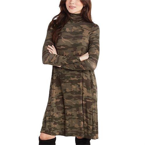 Topher Turtleneck Dress- Camo