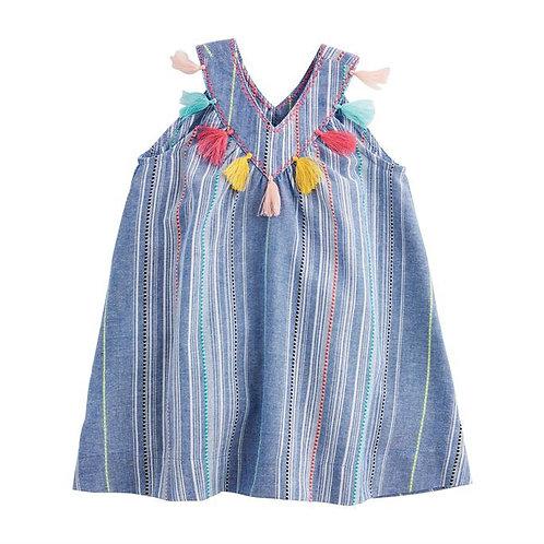 Chambray Tassel Dress