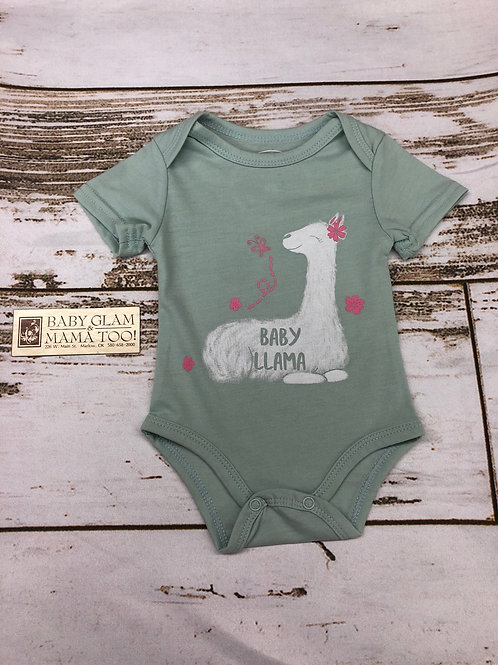 Baby Llama Mint Onesie