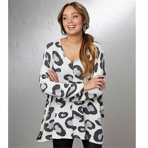 Elsie Sweater Gray Leopard (One Size)
