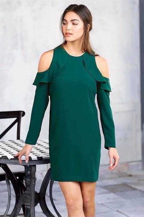 Aria Cold Shoulder Dress- Peacock