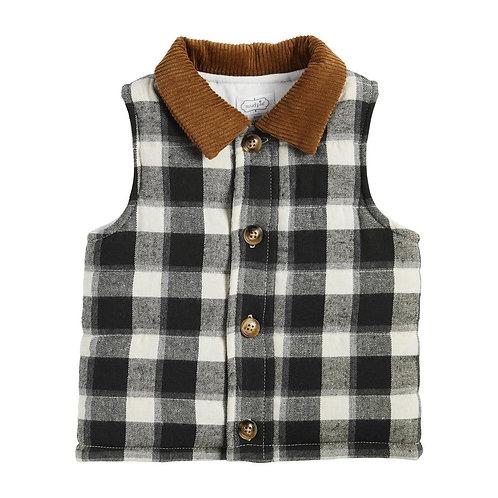 Buffalo Check Vest Cord Collar