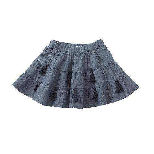 Chambray Tassel Skirt