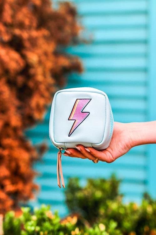 Lightning Bolt Zipper Bag Blue