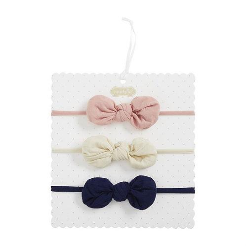 Blue White Pink Bow Set