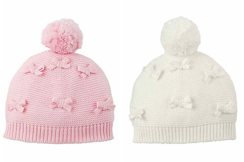 Bow Knit Hats 6/18M