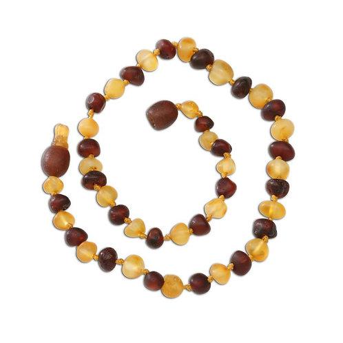 Amber Teething Necklace - Dk. Cherry/Lemon Raw Baroque (ATNU-BQ-Dk. Cherry/Lemon