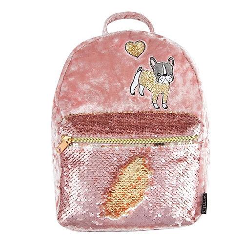 Crushed Velvet/Bulldog Mini Backpack