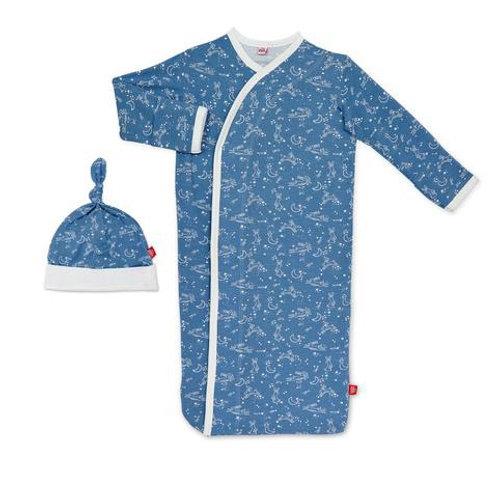Blue Sky Bunny Modal Magnetic Sack Gown & Hat Set