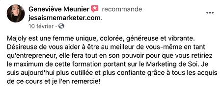 Marketing de soi-témoignage de Geneviève Meunieur pour la formation de Majoly DION