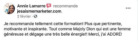Marketing de soi-témoignage de Annie Lamarre pour la formation de Majoly DION