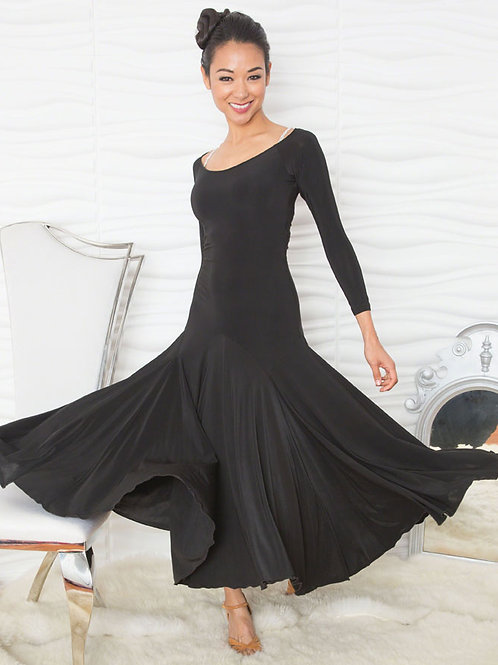 Long Simple Dress W/Back Stone Accent