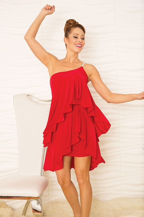 Ruffled Baby Doll Dress Red