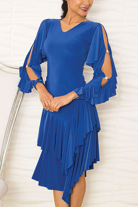 V-Neck Top W/2 Ruffle Slit Sleeves
