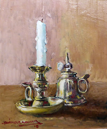 BOUGEOIR ET LUMIGNON (candlestick & small lamp)