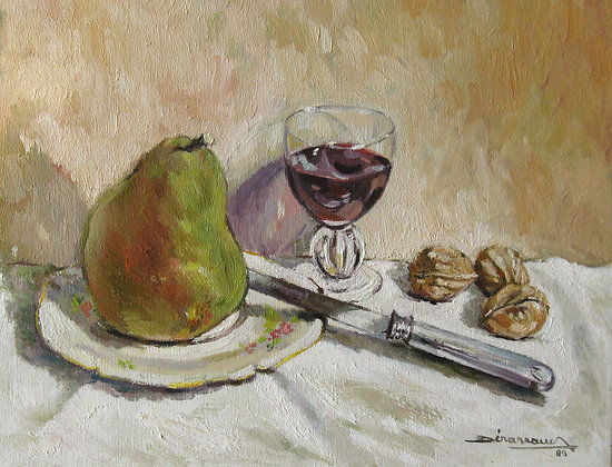 POIRE ET VERRE DE VIN - PEAR AND GLASS OF WINE