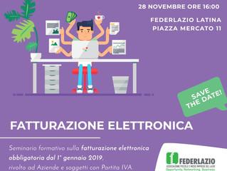 28  NOVEMBRE 2018 a LATINA- Seminario FATTURAZIONE ELETTRONICA