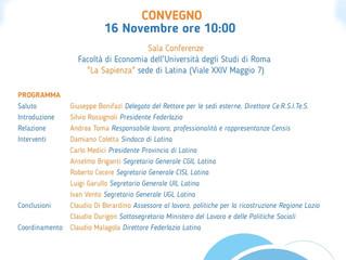 Federlazio Latina: il LAVORO in una società che cambia -16 novembre ore 10:00