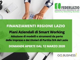 Piani Aziendali di Smart Working:  Finanziamenti dalla Regione Lazio