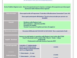 Avviso Pubblico Regione Lazio – Bonus Occupazionale per le imprese a sostegno all'occupazione per di