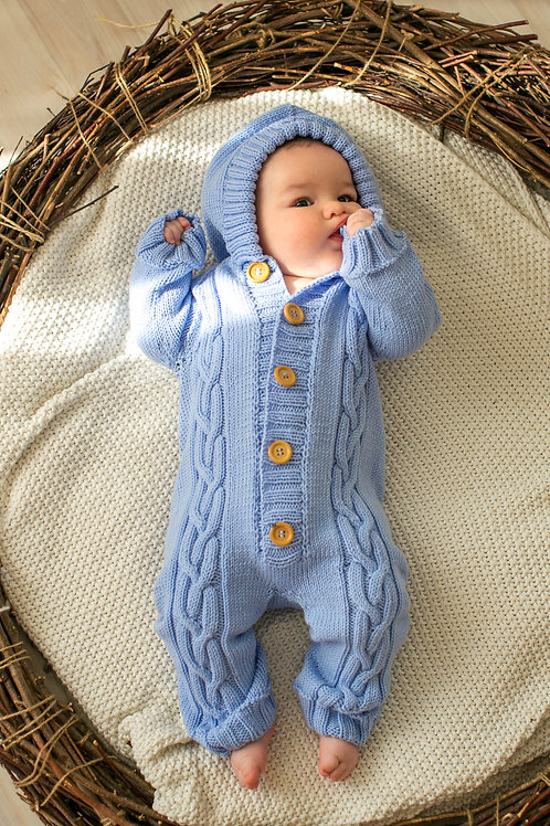 Light Blue Merino Onesie