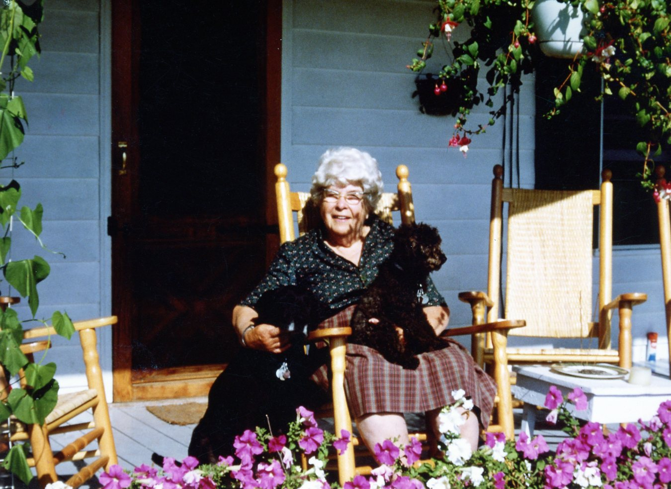 Margaret Pratt on her porch