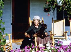 Margaret Pratt on her porch