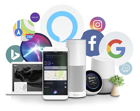A photo of showing social media icons and voice recognition technologies to show the importance of updating your business listings