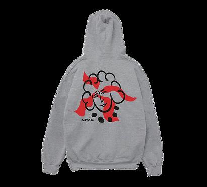 VISAGE AU COLLIER grey hoodie