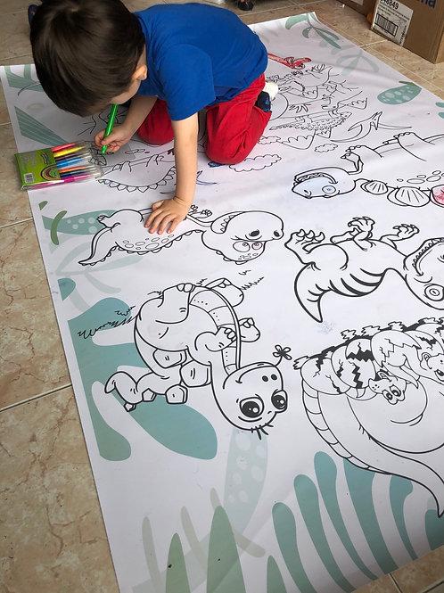 Tapete Didáctico de Dinosaurios para Colorear