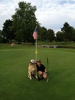 Golfer with Mascot