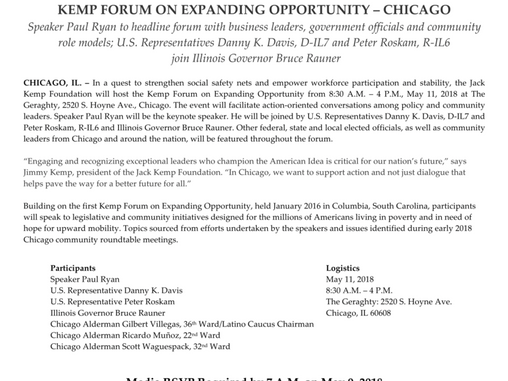 Press Release: Kemp Forum on Expanding Opportunity, Chicago