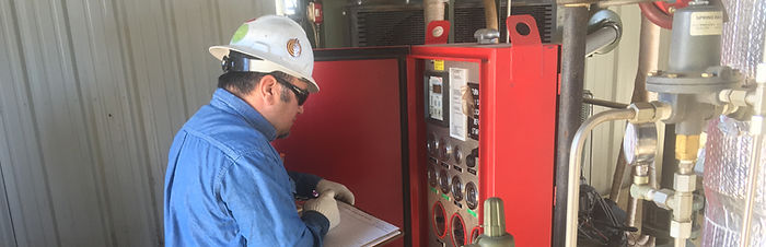 San Juan Compression destination zero safety pledge for employees maintenance on natural gas compressor