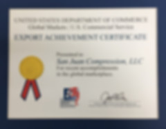 San Juan Compression Export Achievement Certificate