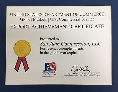 San Juan Compression Export Achievement Certificate