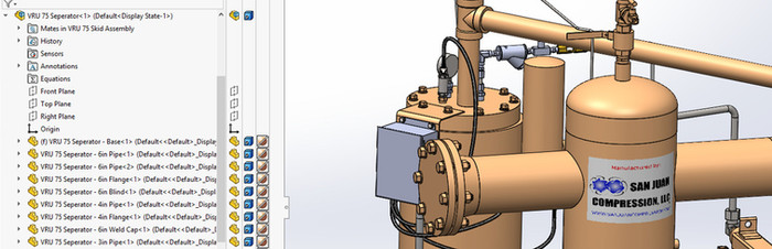San Juan Compression custom design of natural gas wellhead and vapor recovery unit VRU compressor using Solidworks Premium