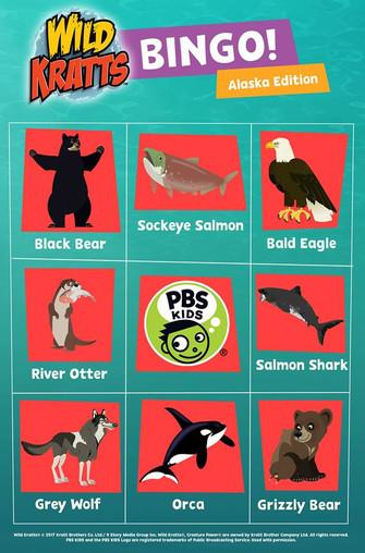 Wild Kratts Bingo! Card - Alaska Special