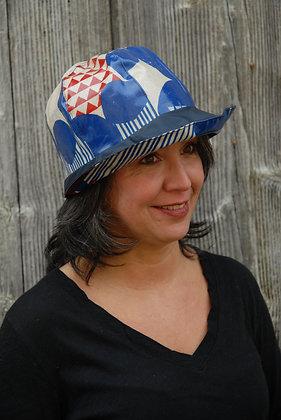 Chapeau de pluie Echino Motifs Bleu