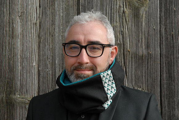 Tour de cou Homme Lainage Noir et velours Turquoise