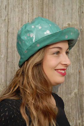 Chapeau de pluie Echino Pois Vert d'eau