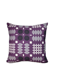 Purple welsh tapestry print square cushions