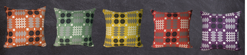 Welsh tapestry print square cushions