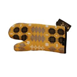 Mustard Welsh tapestry blanket print oven mitt _ oven glove