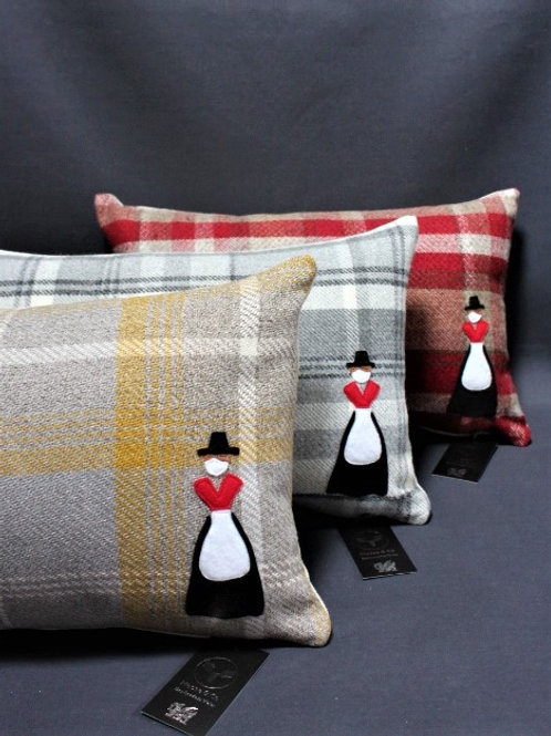 Wool Blend with Welsh Lady Motif Cushions Classic Collection